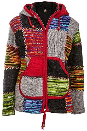 Bunte Patchwork Jacke   Herren   Nepal Jacke mit Patches   Wolljacke   Warmes Fleece Innenfutter -