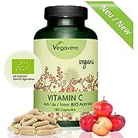 Vitamina C | LA ÚNICA NATURAL Y NO SINTÉTICA | Procedente de Acerola ORGÁNICA | 180 mg | Resfriados + Gripes +.