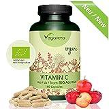 NEU: Natürliches Vitamin C hochdosiert - BIO Qualität Vegavero | BIO ACEROLA | 180mg Vitamin C pro Tagesdosis | Hochwertig + rein | Vegan und OHNE Zusatzstoffe | 180 Kapseln