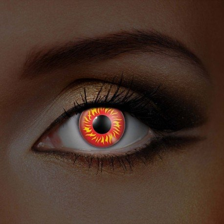 Rezept Kontaktlinsen Kostüm - Funky Vision Kontaktlinsen I-Glow - 12 Monatslinsen, Wolf Eye UV, Ohne Sehstärke, 1 Stück