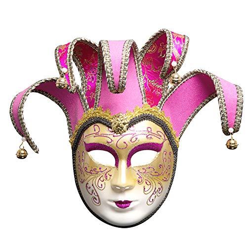 Elementare Kostüm - XXLLQ Party Maske Venezianische Joker Full Face Masquerade Glocken Mardi Gras Party Venedig Prinzessin Halloween Kostüm Cosplay Dekoration, Atmungsaktiv, Leichtgewicht,red