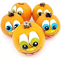 5 bemalte Halloweenkürbisse: handbemalte Kürbisgesichter zu Halloween für Kinder in Kindergärten als Zierkürbisse