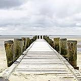 Artland Qualitätsbilder I Glasbilder Deko Glas Bilder 50 x 50 cm Landschaften Strand Foto Creme D8TW Steg ins Watt
