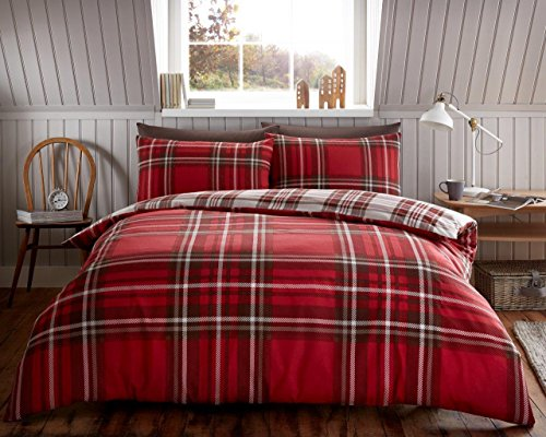 Flanelette Duvet Cover Pillow Case Quilt Cover Bedding Set Double King All Size (King, Tartan Red)