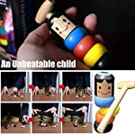 Halloween Wooden Man Magic Toy,Rainbow Stacking Rings,Puppet Man Who Can't Beat Tumbler,Funny Magic Toy Gift for children Adult,Child Marionette Interactive Toys for Christmas Party (A)