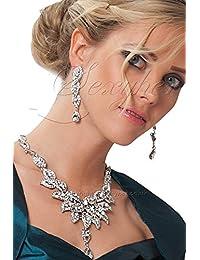 SEXYHER Herrliche Silberne Halskette Und Ohrringe Set Kristallen - 2200SNTL