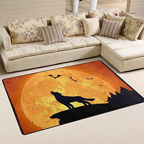 coosun Halloween Hintergrund mit Wolf Bereich Teppich Teppich rutschfeste Fußmatte Fußmatten Wohnzimmer Schlafzimmer 78,7x 50,8cm, Textil, multi, 31 x 20 inch