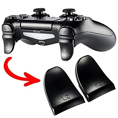 eXtremeRate® 2 Pairs Black L2 R2 Buttons Trigger Extenders for PlayStation 4 PS4 JDM-030 Controller by Extremerate