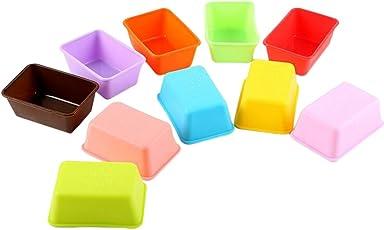 Vikenner Silikon Backform/Kuchenform Klein mit 10 Stück Rechteckige Muffinschale Antihaft Hitzebeständig Haltbar für DIY Küche Silikonbackform