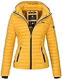 Marikoo Damen Jacke Steppjacke Übergangsjacke mit Kapuze gesteppt B600 [B600-Samt-Gelb-Gr.L]