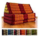 XXL Thaikissen im Jumbo Format, Thaikissen der Marke Asia Wohnstudio, Dreieckskissen mit 100% Kapokfüllung, Thaimatte, (rot / gelb)