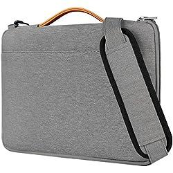 Inateck Bolso Bandolera para Ordenador Portátil de 14 Pulgadas, Laptop Sleeve Resistente a los Derrames para Portátil,Notebook, Ultrabook de 14 Pulgadas, 15 Pulgadas MacBook Pro Retina, Gris