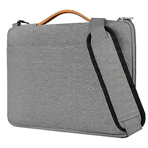 Inateck 13 Zoll Laptop Schultertasche, wasserdichte und verschleißfeste Laptop Hülle für 13-13.3 Zoll Laptops, Notebooks, Ultrabooks, Grau
