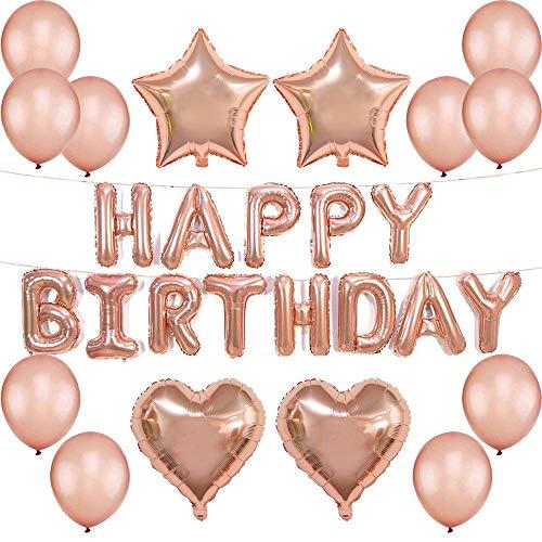 TOPHOPE Happy Birthday Ballons Banner,Geburtstagsdeko Mädchen,Rosegold Luftballon Folienballons Buchstabenballons Luftballons Geburtstag,Rosa Ballons für Mädchen Freundin Tochter