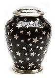 """Messing Verbrennung Asche urn- Erwachsene Größe–""""mit Liebe gemacht–Simplicity Urne (schwarz mit silber Sterne)."""