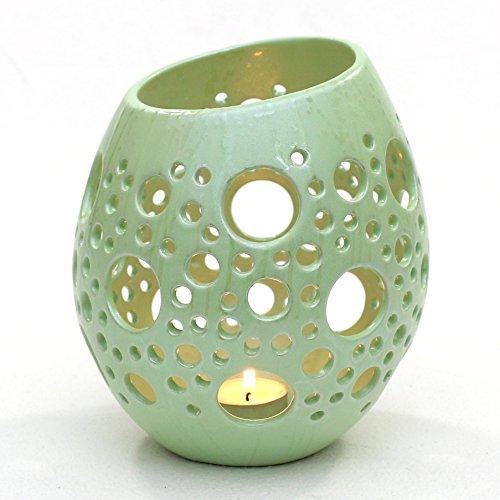 Portavelas de huevo con loechern, H/Ø aprox. 21x 17cm, cerámica, verde...