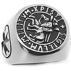 BOBIJOO Jewelry - Anillo Anillo De Hombre De Acero Sello Templario Cristo De La Cruz Anillo Sigillum Militum Millitum - 24 (11 US), Acero Inoxidable 316