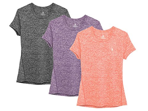 icyzone Sport T-Shirt Damen Kurzarm Laufshirt - Trainingsshirt Fitness Shirt Oberteile Rundhals (XXL, Charcoal/Lavender/Peach/)
