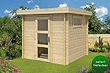 Gartenhaus G1-28 mm Blockbohlenhaus, Grundfläche: 4,60 m², Flachdach