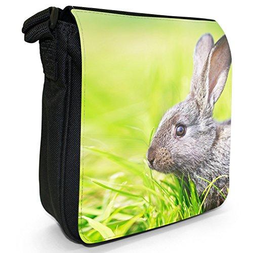 Peluche conigli Borsa a spalla piccola di tela, colore: nero, taglia: S Nero (Little Grey Rabbit In Meadow)