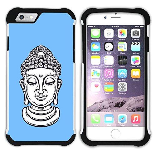 Graphic4You Buddha-Kopf (Orange) Hart + Weiche Kratzfeste Hülle Case Schale Tasche Schutzhülle für Apple iPhone 6 / 6S Babyblau
