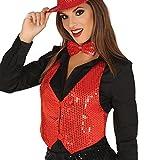 Rote Pailletten Weste für Damen Karneval Fasching Silvester Party Gr. M/L