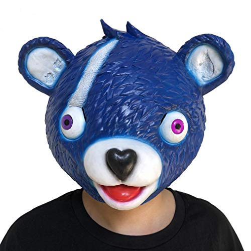 Bescita Stressabbau-Spielzeug, Cuddle Team Leader Bear Game Mask Melting Face Adult Latex Costume Cosplay Toy (Blau)