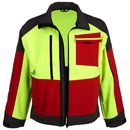 forstjacken Forstjacke Softshell-Jacke leuchtgelb/rot/grau Größe S