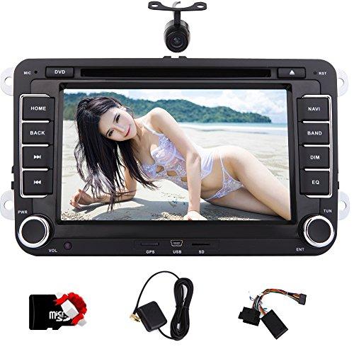 Caméra de recul comme gift.Eincar Double 2 Din 7 pouces GPS lecteur DVD de voiture Dash voiture VW stéréo avec 8 Go GPS SAT carte GPS TV intégré Bluetooth analogique Autoradio Unité principale Cam