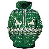 SEWORLD Weihnachten Christmas Herren Männer Herbst Winter Weihnachten Drucken Langarm Mit Kapuze Sweatshirt Top Bluse(X1-c-grün,EU-52/CN-3XL)
