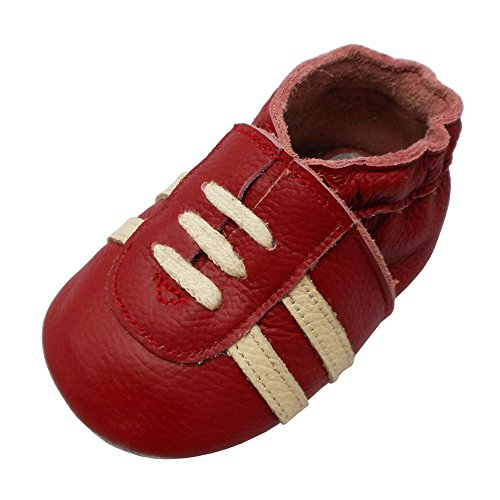 YIHAKIDS Weicher Leder Lauflernschuhe Krabbelschuhe Babyhausschuhe Turnschuh Sneakers mit Wildledersohlen(Rot,12-18 Monate)