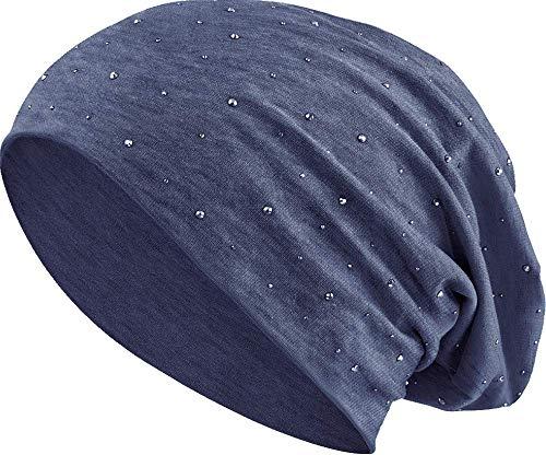 Jersey Baumwolle elastisches Long Slouch Beanie Unisex Herren Damen mit Strass Stern Steinen Mütze Heather in 35 (7) (Heather Grey-Blue)