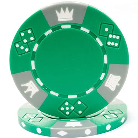 Trademark Poker Triple Crown Tri-Color 100 Poker Chips, 11.5gm, Green by Trademark Poker