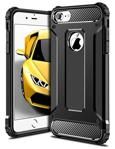 iPhone 7 Hülle, Coolden Premium Outdoor Stoßfest Case Doppelte Schutz Soft Flex Silikon TPU Schale + Hard PC Bumper Cover Chic Armor Schutzhülle für iPhone 7 Handyhülle iPhone 7 Case (Schwarz) Schwarz