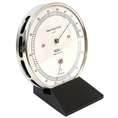 Fischer Präzis Haar-Hygrometer mit Thermometer im Edelstahlgehäuse mit Holzfuss schwarz