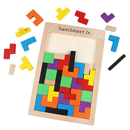 Preisvergleich Produktbild SainSmart Jr. Tetris Tangram Holzpuzzles Lernspielzeug Intelligenz Pädagigisches Spielzeug für Kinder (40 Stück)