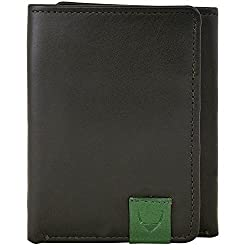 HIDESIGN Dylan Compact Trifold Leather Wallet with ID Window, Black
