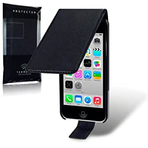 iPhone 5C Premium PU Leather Flip Case / Cover / Pouch / Holster - Black