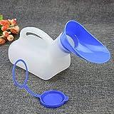 Pratique en Plastique Unisexe Portable Mobile Urinoir Toilette De Voiture Voyage Voyage Mâle Femelle Poignée Urine Bouteille 1000ML (Couleur: Blanc et Bleu)