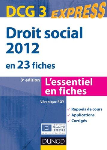 Droit social 2012 - DCG 3 - 3e édition - en 23 fiches