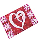 AMDXD Gummi Teppich Valentinstag Love Herz Design Teppiche für Schlafzimmer Wohnzimmer Rose 45x70CM