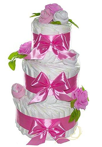 Preisvergleich Produktbild Große Windeltorte Rosenblüte rosa für Mädchen - Geschenk zur Geburt - Süße Windeltorten by dubistda