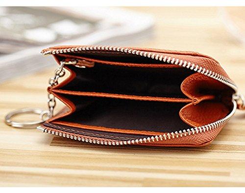 Esdrem Unisex in Vera Pelle Con Zip Portamonete Coin Card Custodia portafoglio w Portachiavi Rose Black