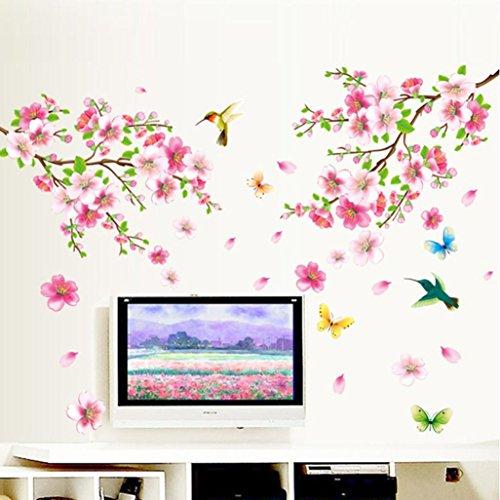 DOLDOA Wandtattoo,Abnehmbares Wiederverwandbares Schöne Baum Blume Blätter und Vögeln Serie Wandbild mehrfarbiges Wallsticker Wandtattoo Aufkleber für Sofa und Fernsehen im Wohnzimmer Deko Wandpapier