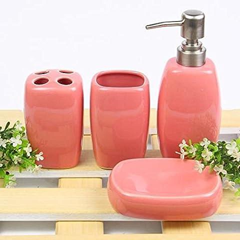 Liyongdong Accessoires de salle de bains 4Pices Emulsion Bottle Porte-brosse à dents Mouthwash Cup Savon