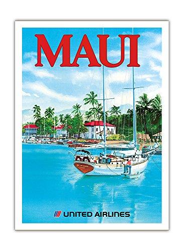 Pacifica Island Art - Maui - United Airlines - Segelboot Ahe Makani Lau (Es Ist EIN Hauch) - Lahaina Hafen - Retro Flugreise Plakat von Michael Hagel c.1977 - Giclée Kunstdruck 30.5 x 41 cm