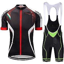jersey Hombres Ciclismo Conjunto Bib Shorts Ropa De Bicicleta De Secado Rápido Camisa De Bicicleta Al Aire Libre Traje De Ciclismo Green- 5XL