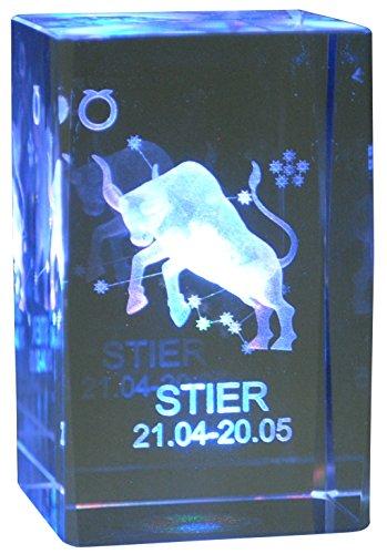 Immerschön 3D Laser Kristall Glasblock mit Sternzeichen Stier