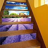 LIZHONGXUAN 3D Treppe Lavendel Manor Treppen Wandaufkleber PVC Abnehmbare Wasserdichte Tapete 100 * 18 cm * 6 Stücke