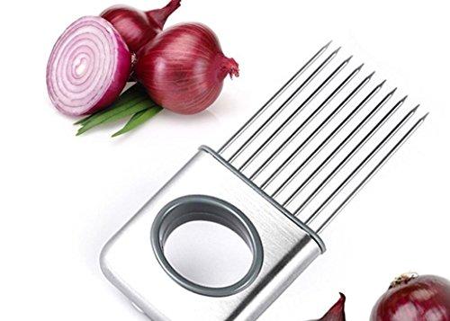 Huertuer - Cortador de cebollas de acero inoxidable para tomate, verduras, utensilios de cocina, color plateado